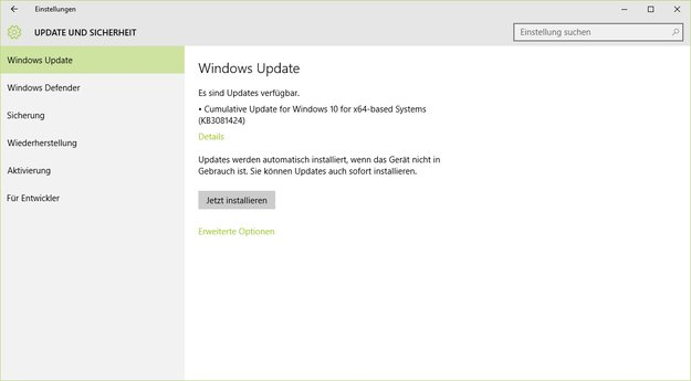 Windows 10 erhält erstes kumulatives Update (KB3081424)