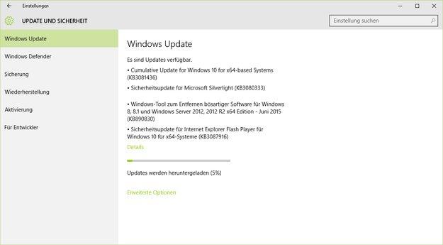 Windows 10 Update KB3081436 steht zum Download bereit