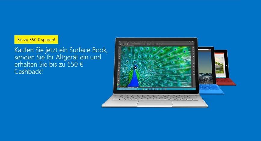 Surface Book: Bis zu 550€ Cashback für Altgerät von Microsoft