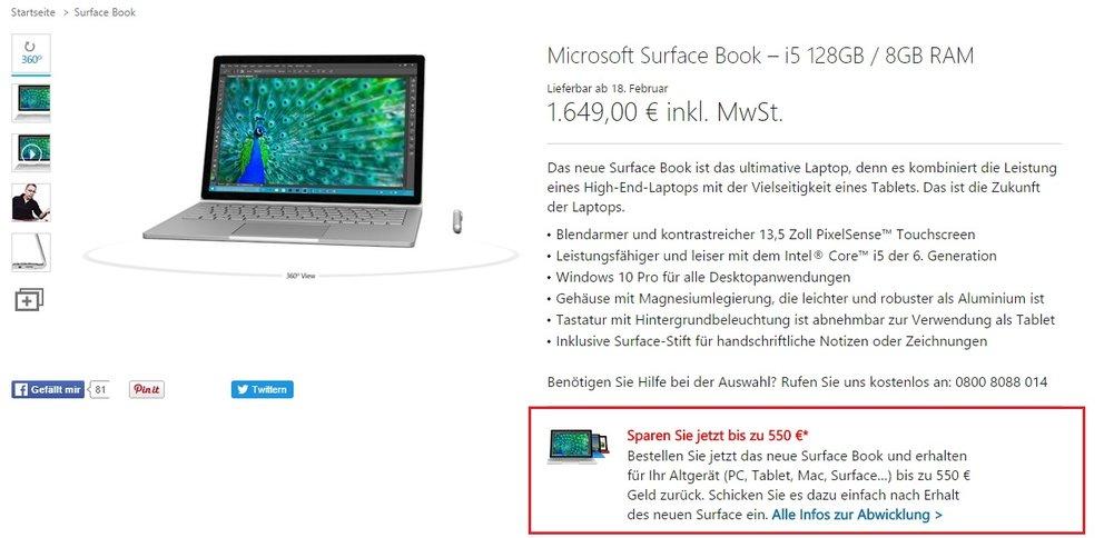 surface book Cashback für Altgerät microsoft store