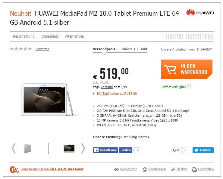 HUAWEI MediaPad M2 10.0 Tablet Premium cp