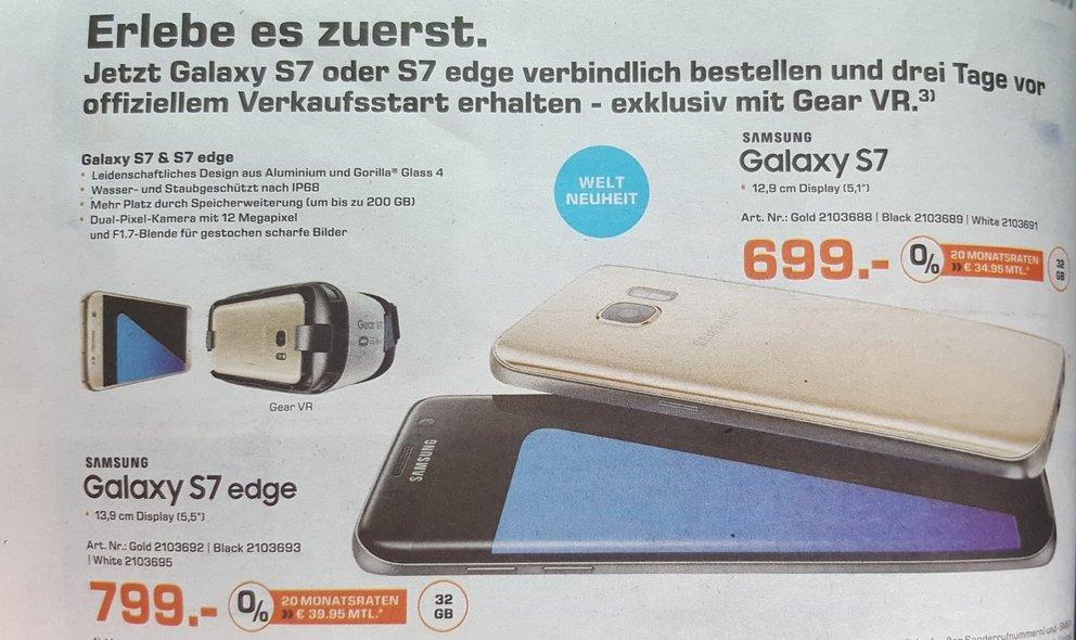 Samsung Galaxy S7: Saturn-Prospekt bestätigt Preise, Design &amp&#x3B; Gear VR-Aktion - Update