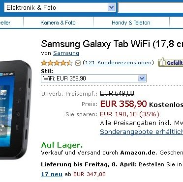 Samsung Galaxy Tab: WLAN-only Variante bei Amazon verfügbar