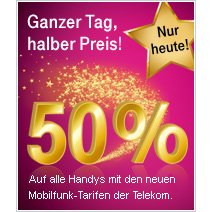 Nur heute: Samsung Galaxy Tab, Galaxy S, HTC Desire HD, Motorola Defy 50% günstiger