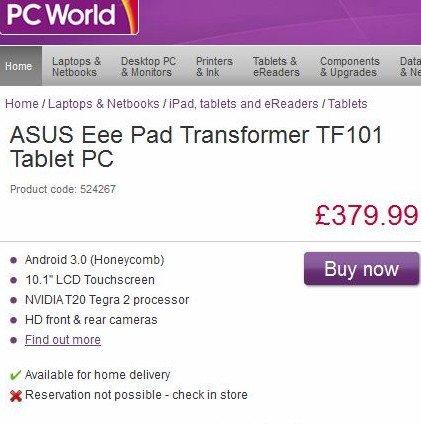 Eee Pad Transformer: keine Lieferengpässe laut Asus UK