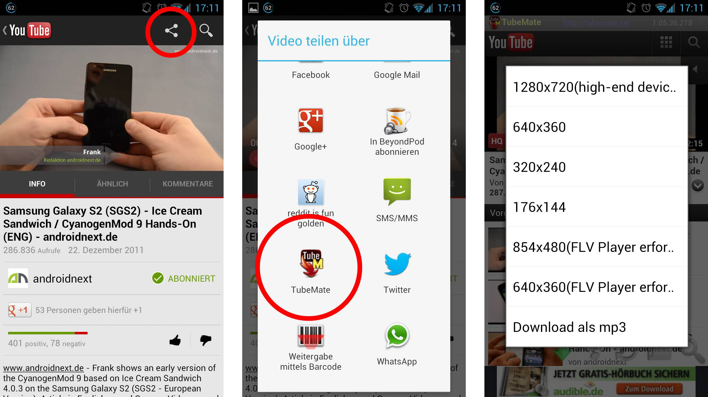 FREEdi YouTube Downloader Android Optionen. Neben dem Download eines Videos  kann ...