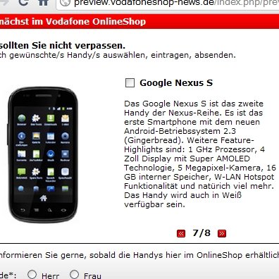 Nexus S: In Deutschland bei Vodafone, auch in Weiß erhältlich