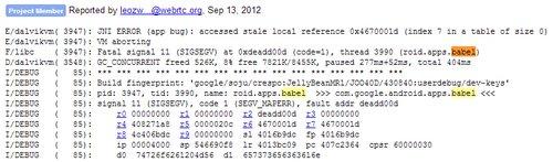 webrtc bug report babel