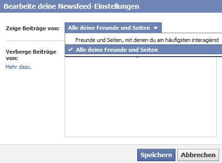 facebook optionen