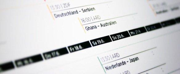 WM 2010 Design-Spielplan