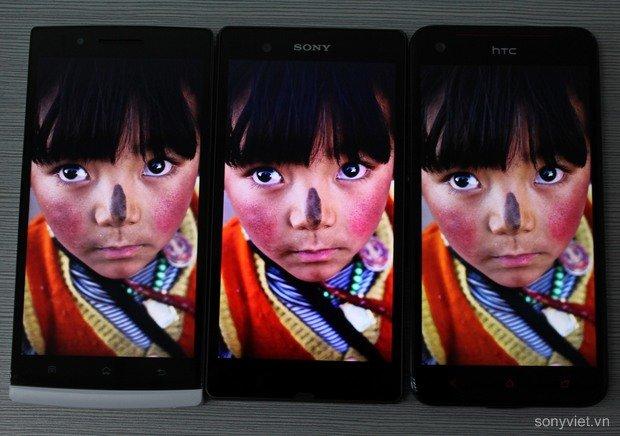Sony Xperia Z: Full HD-Display im Vergleich mit HTC Butterfly und Oppo Find 5